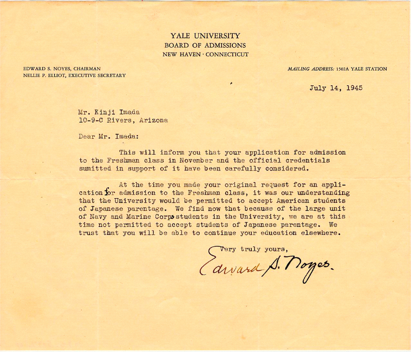 Imada, Kinji_Yale Rejection letter_ July 14, 1945 copy.jpg