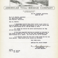 American Toll Bridge Company letter