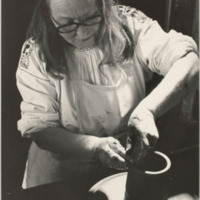 Edith Heath forming a vessel at the wheel