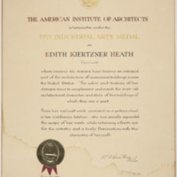 The American Institute of Architects Industrial Arts Medal Certificate