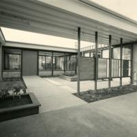 Heath Ceramics factory courtyard, from parking lot