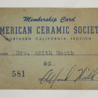 American Ceramic Society Membership Card, Edith Heath