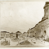 Unidentified birds-eye sketch of urban plaza