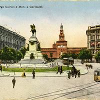 Milano - Largo Cairoli e Mon. a Garibaldi