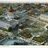 Aeroplane View of City Hall and Civic Center, San Francisco, California