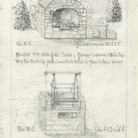 Drawings of Garden Structures: Barbecue Pit Sketches