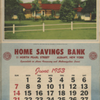 1953 Home Savings Bank Calendar with house plans