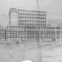 Wurster Hall, elevation sketch<br />