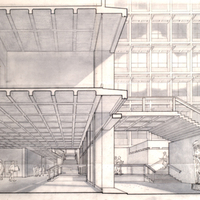 Wurster Hall, Entrance Lobby Perspective<br />